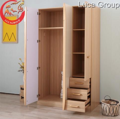 Mẫu tủ quần áo hai buồng bằng gỗ công nghiệp