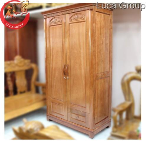 Tủ quần áo hai buồng bằng gỗ đinh hương